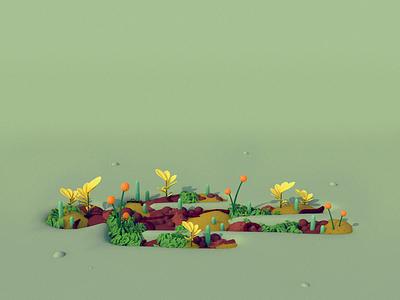 Personal Garden - The Practice #180 diligence rendering 3d gardening editorial illustration plants garden illustration c4d cinema 4d 3d illustration stuart wade