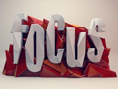 Focus stuart wade diligence focus typography 3d rendering low poly text cinema 4d