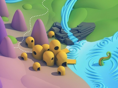 Humble Fishing Village dlgnce low poly diligence 3d cinema 4d c4d stuart wade waterfall water village architecture map isometric illustration 3d illustration