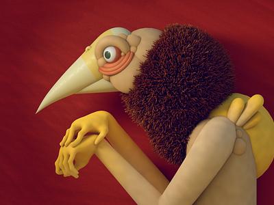 Portrait 2020 fur hands bird diligence studio stuart wade render illustration 3d illustration cinema 4d 3d character design portrait character