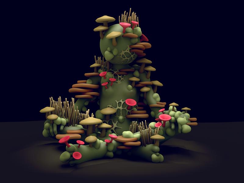 Fungus Gal 3d character c4d cinema 4d illustration character 3d 3d illustration stuart wade dlgnce diligence studio psychadelic mushroom fungus