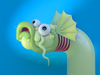 Portrait 2020 fins gills 3d character rendering diligence studio stuart wade c4d cinema 4d character model character design 3d character design 3d illustration 3d character fish