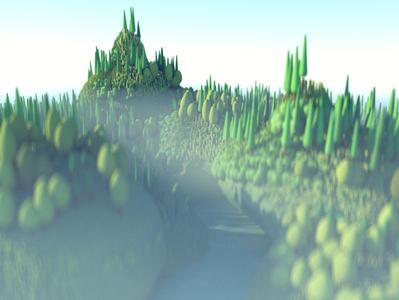 Procedurally Generated Forest Island 3d landscape island low poly rendering 3d octane landscape cinema 4d c4d illustration 3d illustration stuart wade