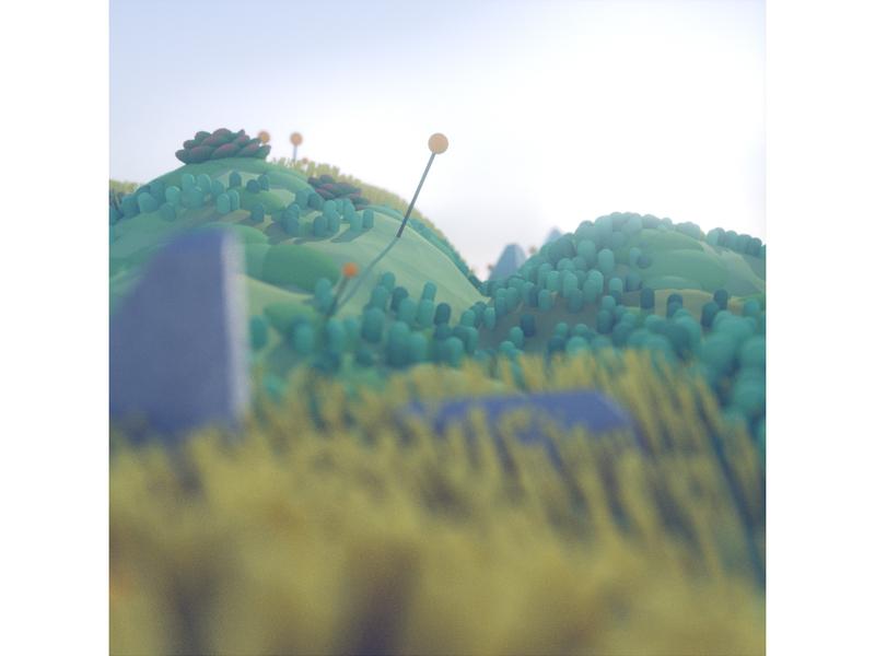 Procedural Landscape plants octane render diligence 3d cinema 4d c4d illustration 3d illustration stuart wade procedural landscape procedural landscape