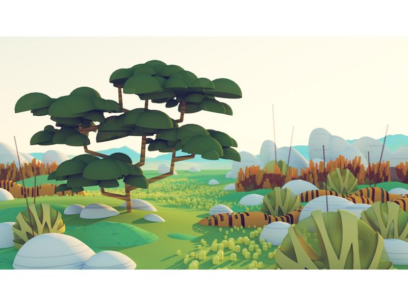 Savanna Scrub 3d landcape nature plants savanna 3d tree illustration tree illustration 3d tree tree landscape rendering 3d cinema 4d c4d illustration 3d illustration stuart wade