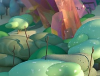 Fantasy - Detail Shot rendering crystals 3d plants 3d landscape 3d environment plant landscape crystal c4d cinema 4d illustration 3d illustration stuart wade