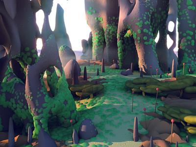 Mossy Shards - Detail octane render 3d artist 3d art rocky moss landscape illustration 3d landscape landscape rocks octane cinema 4d c4d illustration 3d illustration stuart wade