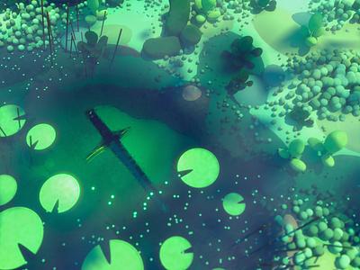 Sunken Sword sci fi fantasy nature plants outdoors water pond rendering diligence 3d cinema 4d c4d stuart wade 3d illustration illustration sword