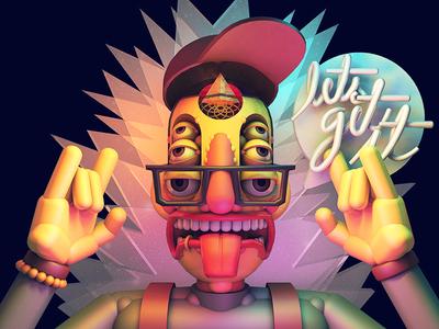 get it stuart wade illustration 3d character typograpy rendering horns