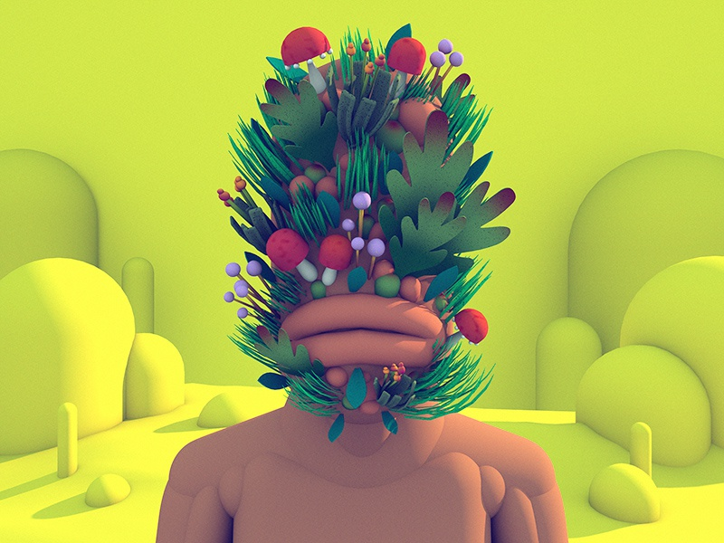 Personal growth yellow lips face plants c4d character 3d illustration render 3d character stuart wade