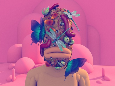 Personal Growth #3 face pink wings bugs insect model 3d illustration illustration dlgnce stuart wade digital art