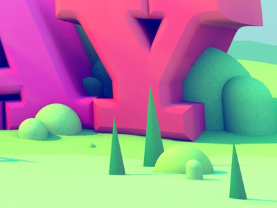 Typographic Landscape Detail illustration cg text hills trees render 3d illustration detail typography type stuart wade