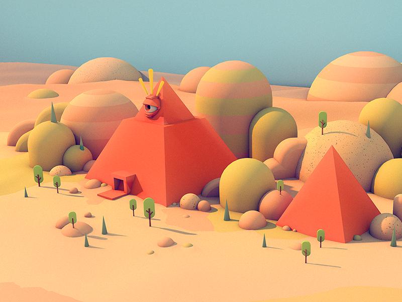 ALL SEEING MONOLITH - Detail cinema 4d c4d trees hills scene pyramid 3d illustration environment level design illustration stuart wade