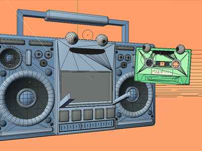 Boombox n' cassette  wireframe cinema 4d c4d wip music boombox tape 3d illustration illustration stuart wade