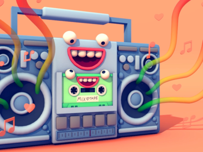 Giphy + Tinder Boombox Animation character music tape boombox giphy tinder illustration 3d animation 3d illustration gif animation stuart wade