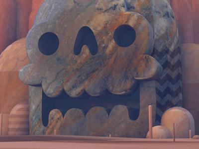 DETAIL: CREEPY SKULL CAVE illustration 3d illustration c4d texture stone marble cave skull the practice screencast stuart wade