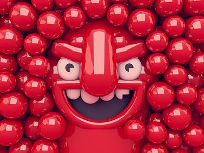 Ball Pit shiny 3d illustration illustration rendering cinema 4d c4d character red ball pit dlgnce stuart wade
