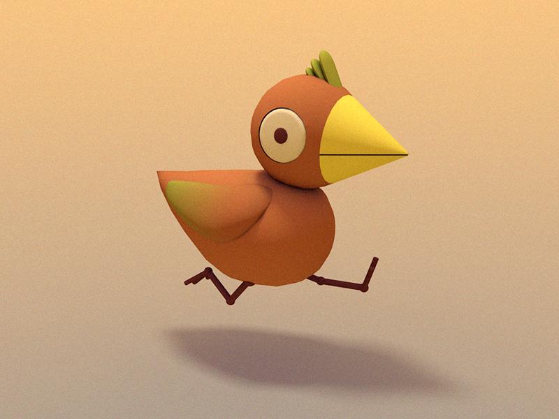 BIRDIE!  digital art bird illustration character design 3d animation 3d illustration cinema 4d animated gif gif bird illustration stuart wade
