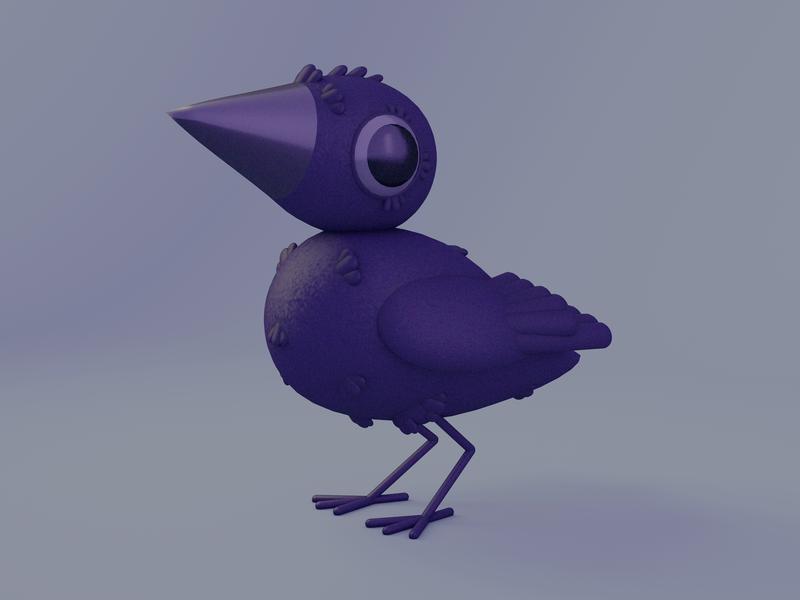 Scruffy Raven Pal digital art 3d art illustrator stuart wade dlgnce crow cinema 4d c4d animal bird 3d illustration illustration raven