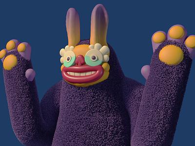 Fuzzy tutorial diligence 3d character 3d stuart wade dlgnce character design concept art fuzzy fur render c4d cinema 4d illustration monster character 3d illustration