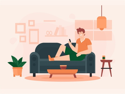 Staying home selfcare lockdown relaxing home landing page freebie vector illustration 2d art flat