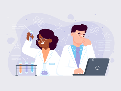 Scientist Working medical research science laboratory scientist landing page ui freebie vector illustration 2d art flat