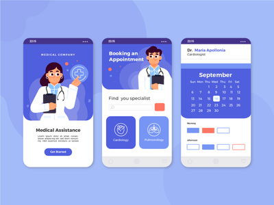 Medical Booking app interface app ui freebie vector illustration 2d art flat