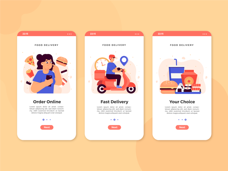 Food Delivery Onboarding delivery app onboarding screen ui freebie vector illustration flat 2d art