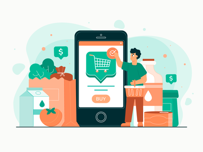 Online Grocery Shopping shopping app app landing page ui freebie flat illustration 2d art