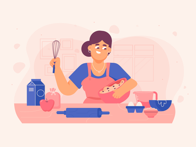 Baking time baking cooking ui flat freebie vector illustration 2d art