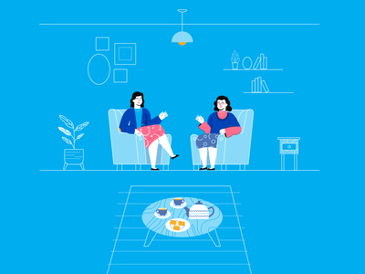 Ladies talking vector explainer video illustration flat 2d art