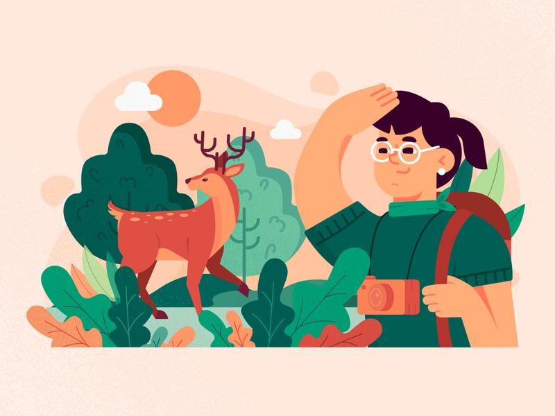 Eco Tourism eco nature tourism freebie vector illustration flat 2d art