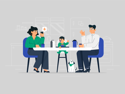Family time together family vector illustration styleframe explainer character design vector illustration flat 2d art