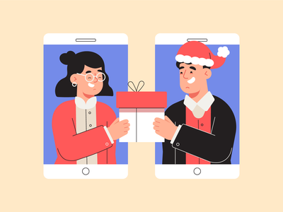 Online Secret Santa christmas new normal character design landing page app illustration vector illustration flat 2d art