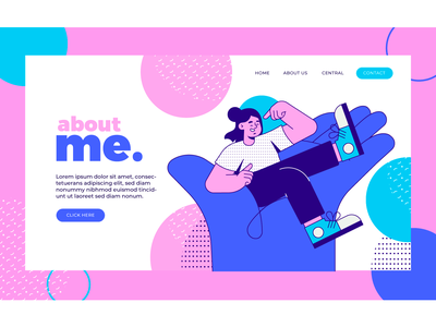 About ME about me vector art landing page app illustration character design vector illustration flat 2d art