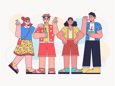 Summer Characters summer young adult character flat design vector art vectorial stroke illustration explainer app illustration character design vector illustration flat 2d art
