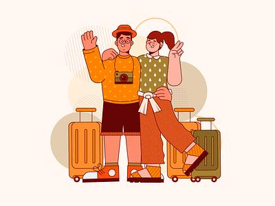 Tourists travel tourism tourists stroke illustration vector art freebie app illustration character design vector illustration flat 2d art