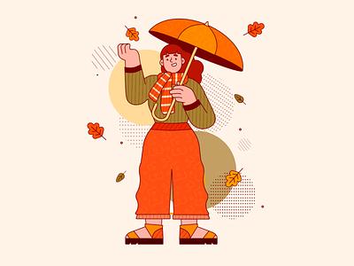 Autumn is here! autumn leaves fall cozy autumn stroke illustration vector art app illustration character design vector illustration flat 2d art