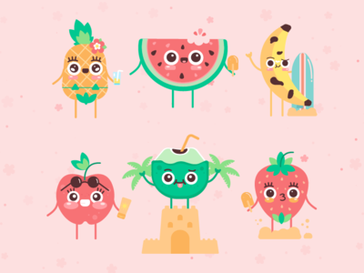 Cute Summer Characters free resource cute illustration vector character design 2d art flat