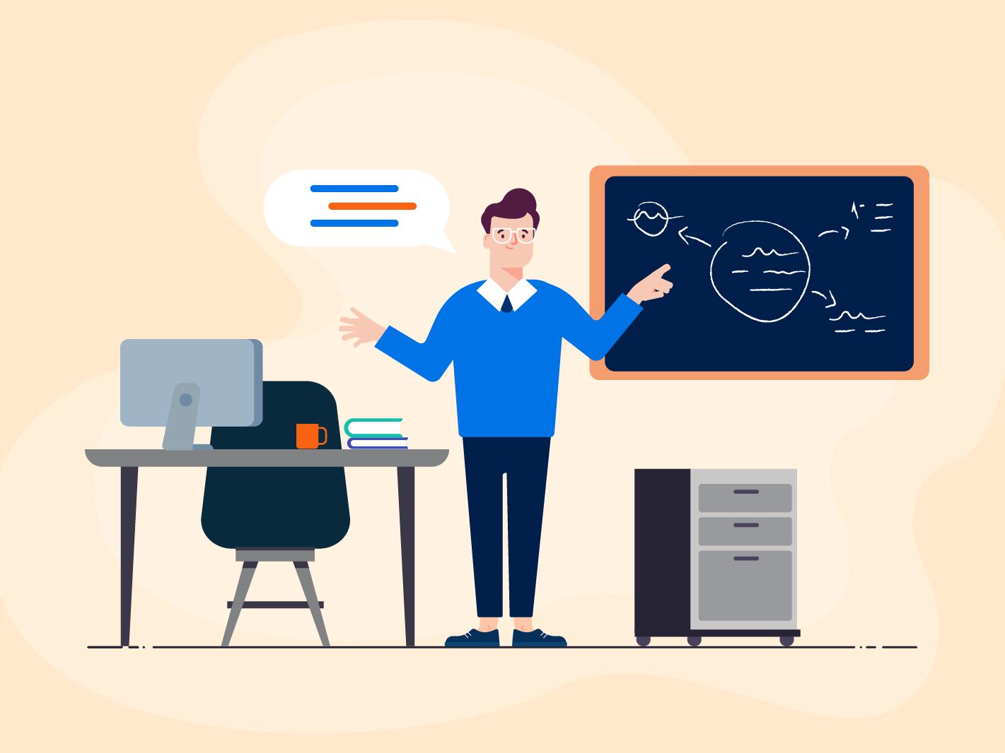 Teacher education app educational hub education teacher classroom illustration explainer character 2d art