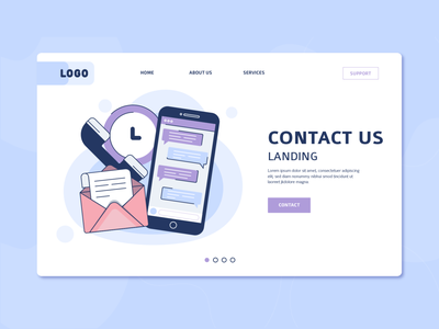 Contact us landing page website contact us devices ui landing page freebie vector illustration 2d art flat