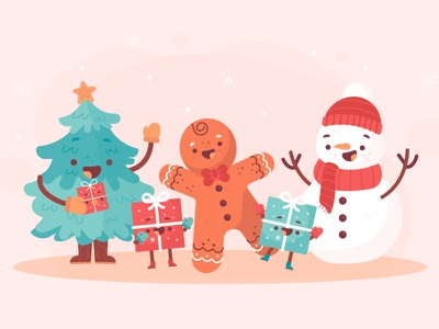 Christmas Time cute christmas freebie ui vector illustration 2d art flat
