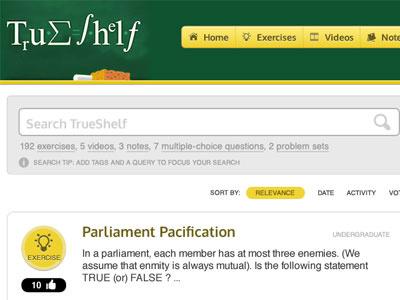 TrueShelf - New Design education learning math green yellow gray web design askbot questions search ui