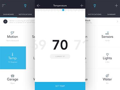 Smart Home WIP app icon flat temp ui home