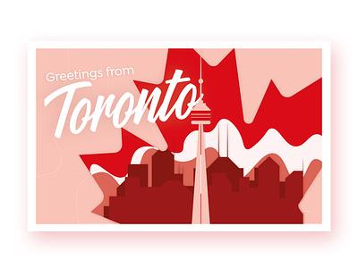 Toronto Postcard dribbbleweeklywarmup weekly challenge branding ontario postcardproject postcard design postcards postcard design canada toronto illustration rebound weekly warm-up