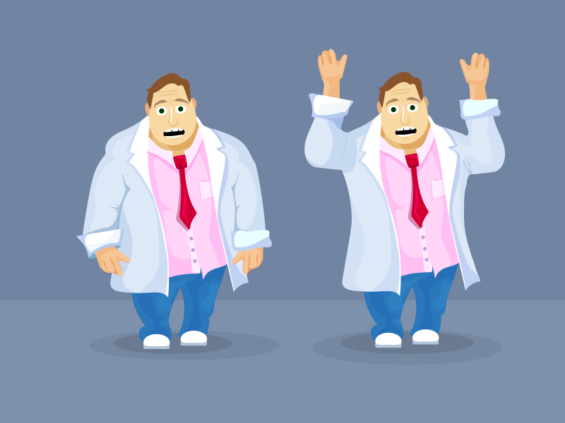 A Frightened Man in a lab coat design character vector human game illustration ios android body face coat concept