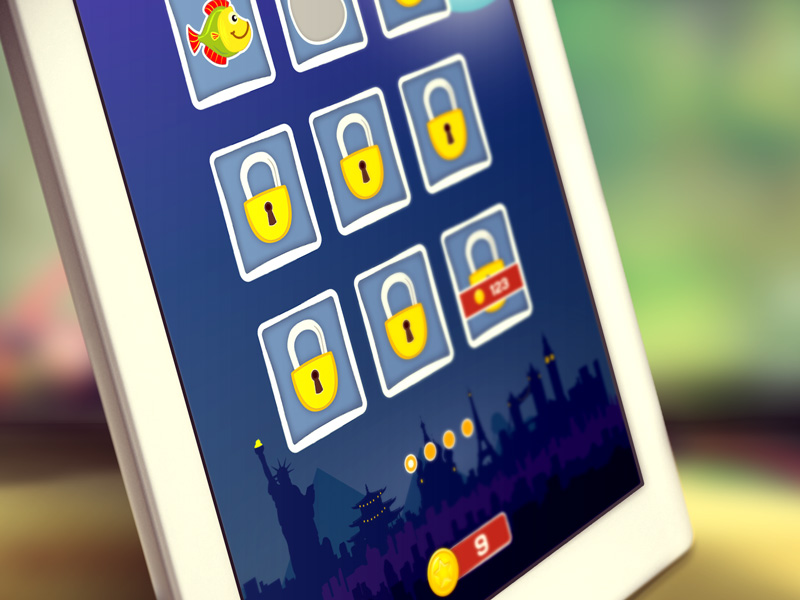 Game Level Selection Screen ui ipad iphone interaction illustration art game vector design