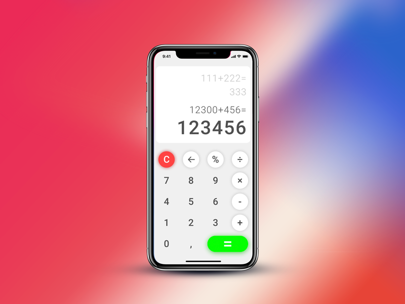 Calculator for Iphone X by Andrii Ryzhankov on Dribbble