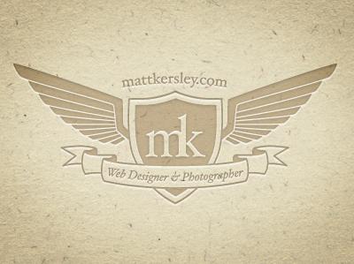 Logo personal brand idea sheild wings scroll paper letterpress