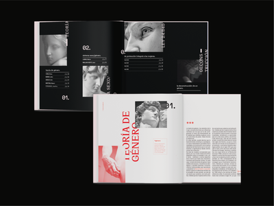 Gender Studies Editorial 02 study woman type art statue red pink graphic design gender equality gender typography feminism techno book magazine editorial layout editorial design editorial design black and white